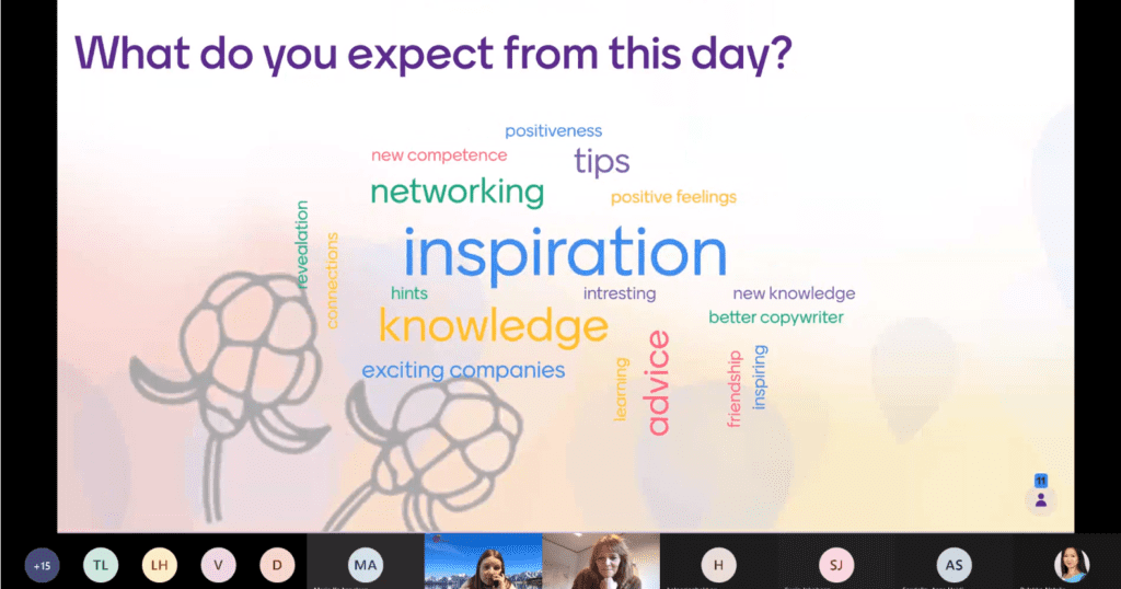 page where the participants wrote their expectations for the work shop. inspiration and knowledge were said the most
